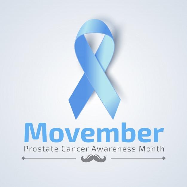 Movember banner mit blauem band Premium Vektoren