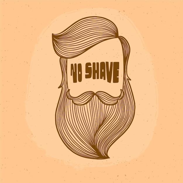 Movember-designhintergrund mit hippie-bart Kostenlosen Vektoren