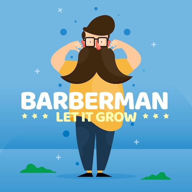 Movember-designhintergrund mit hippie-bartmann Kostenlosen Vektoren