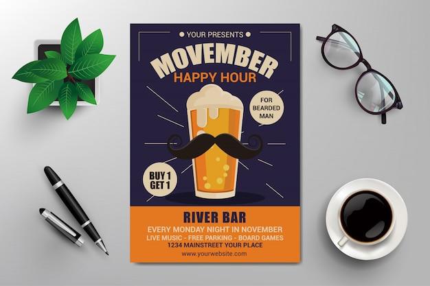 Movember happy hour flyer vorlage Premium Vektoren