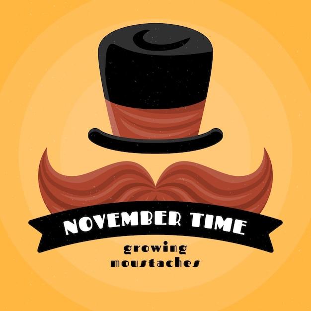 Movember hintergrund im flat design Kostenlosen Vektoren
