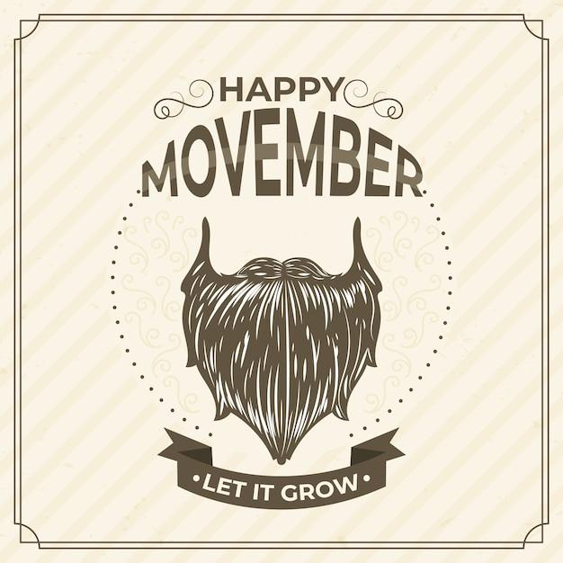 Movember-konzept mit vintage-design Kostenlosen Vektoren