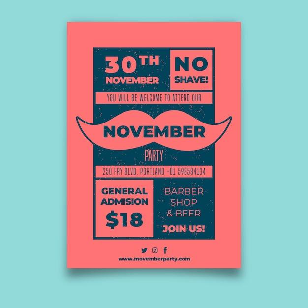 Movember-plakat Kostenlosen Vektoren