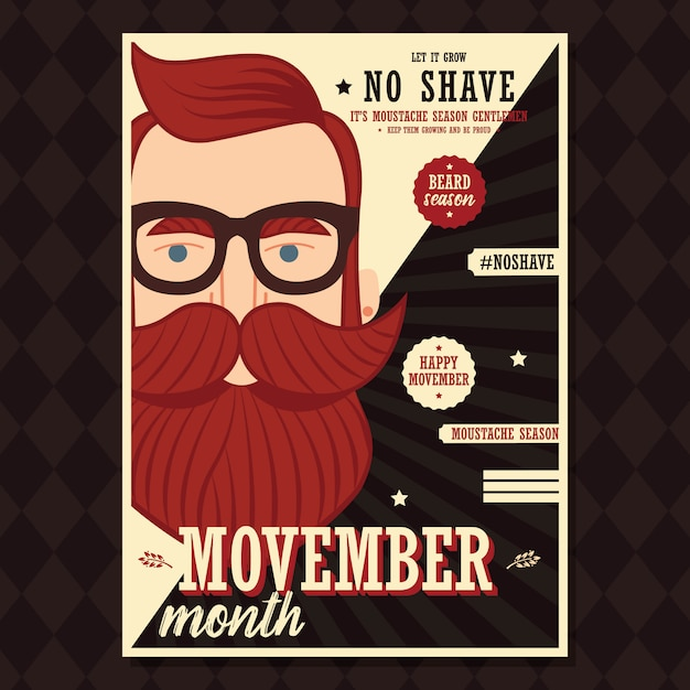 Movember-plakatdesign, prostatakrebsbewusstsein, hippie-mann mit bart und schnurrbart Premium Vektoren