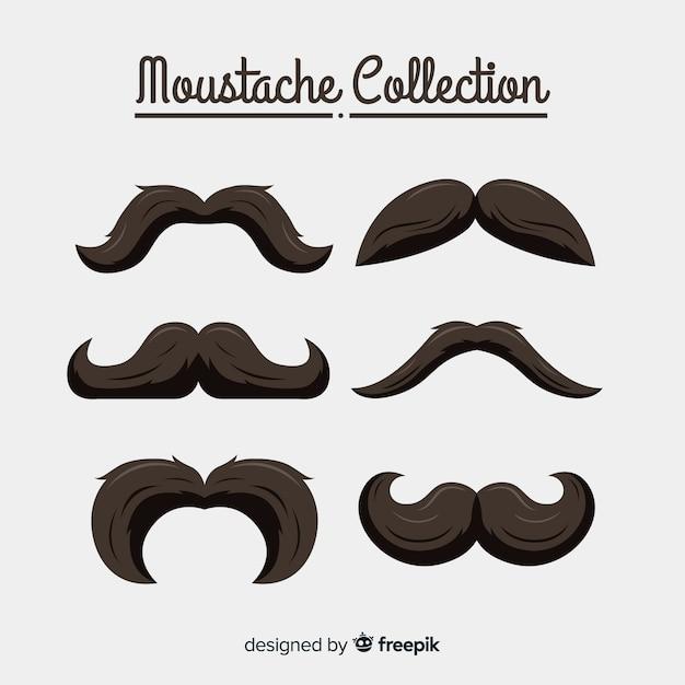 Movember-schnurrbart-kollektion in verschiedenen formen im flachen design Kostenlosen Vektoren