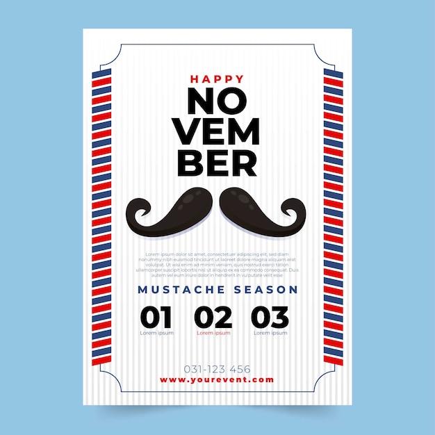 Movember-schnurrbart-plakatschablone Kostenlosen Vektoren