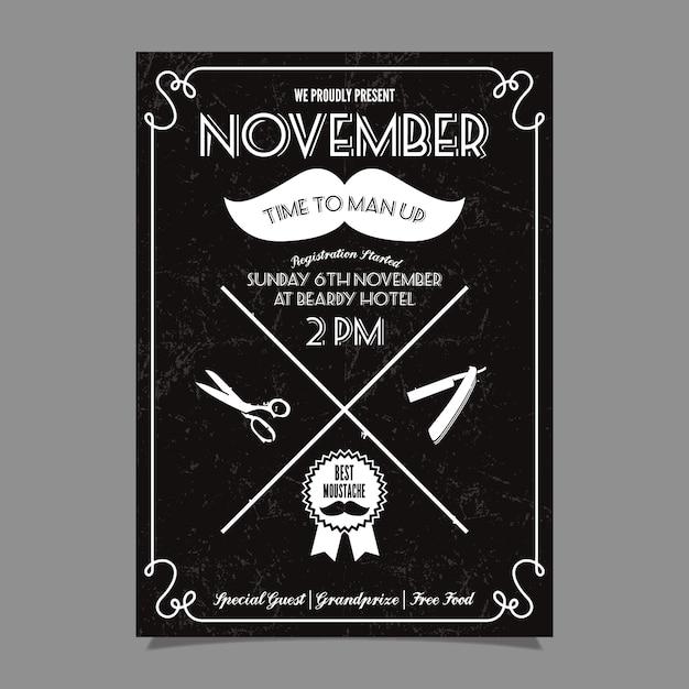 Movember schnurrbart wettbewerb plakat Kostenlosen Vektoren
