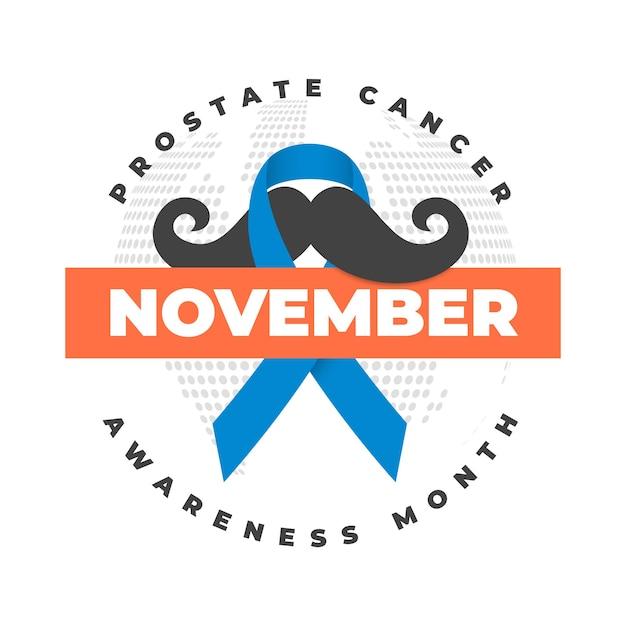 Movember-schnurrbartbewusstseinshintergrund im flachen design mit band Kostenlosen Vektoren