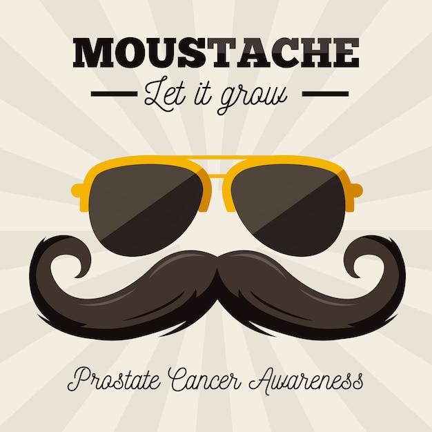 Movember-schnurrbartbewusstseinshintergrund im flachen design mit sonnenbrille Kostenlosen Vektoren