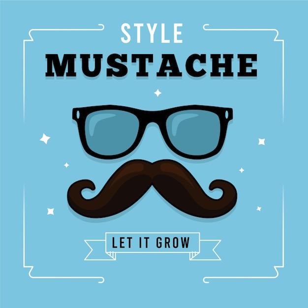 Movember-schnurrbartbewusstseinshintergrund mit hippie-gläsern Kostenlosen Vektoren