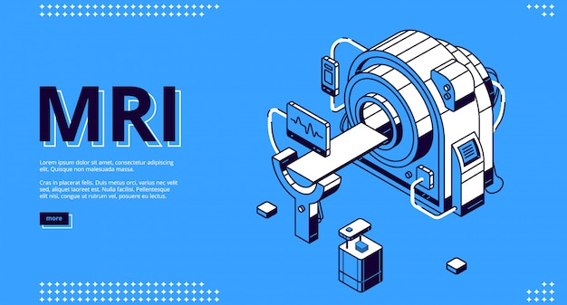 Mri-scanner mit patienten- und arzt-webbanner Kostenlosen Vektoren