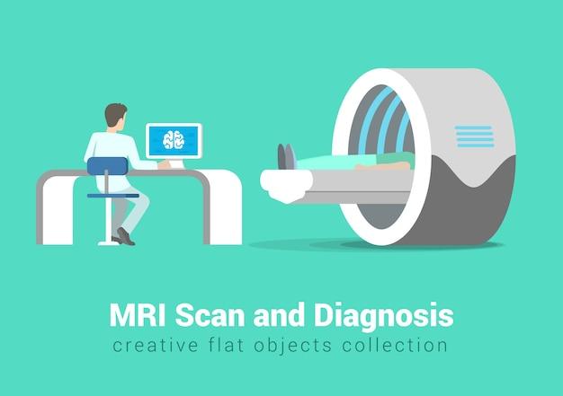 Mrt-scan und diagnoseprozess. krankenhauspatient und arzt im innenraum des behandlungsraums. gesunde lebensstilsammlung der kreativen leute. Kostenlosen Vektoren
