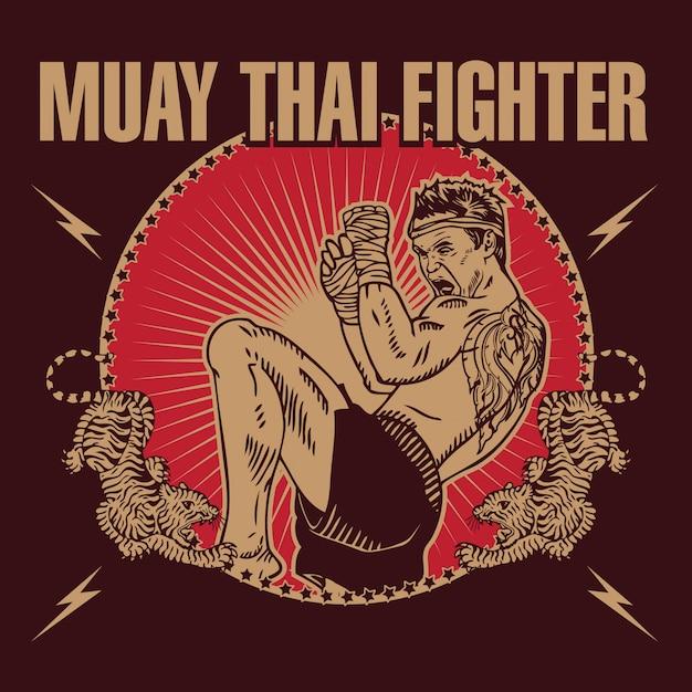 Muay thai fighters emblem style logo Premium Vektoren