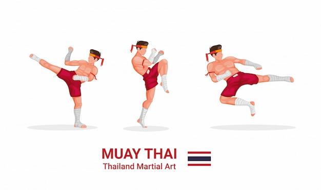 Muay thai - traditionelle thailändische boxkunst aus der thailändischen figurensammlung Premium Vektoren