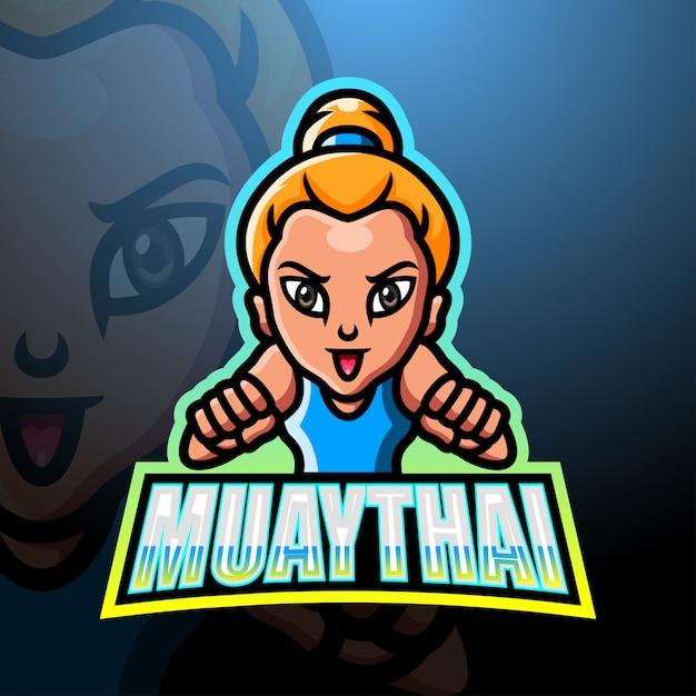 Muaythai maskottchen esport logo design Premium Vektoren