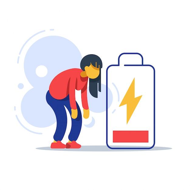 Müde frau und energiesparende batterie Premium Vektoren