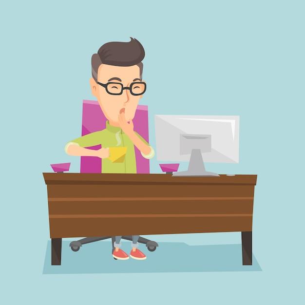 Müder angestellter, der im büro gähnt. Premium Vektoren