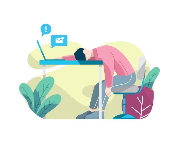 Müder mann, der an der arbeitsvektorillustration schläft Premium Vektoren