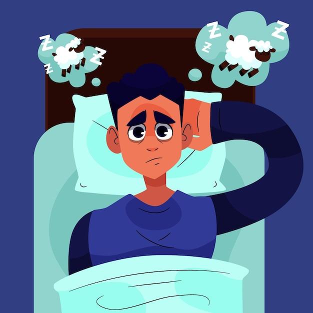 Müder mann, der versucht zu schlafen Kostenlosen Vektoren
