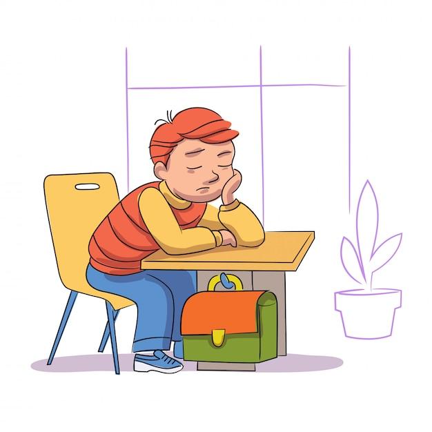 Müder schüler schläft im unterricht. schläfriger junge sitzt bei langweiliger lektion Premium Vektoren