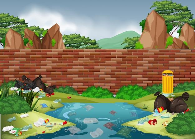 Müll im naturpark Premium Vektoren