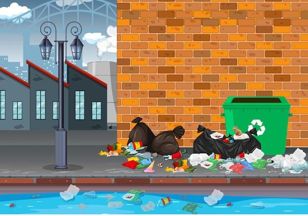 Müll in der industrielandschaft Premium Vektoren