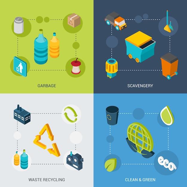 Müll isometric set Kostenlosen Vektoren