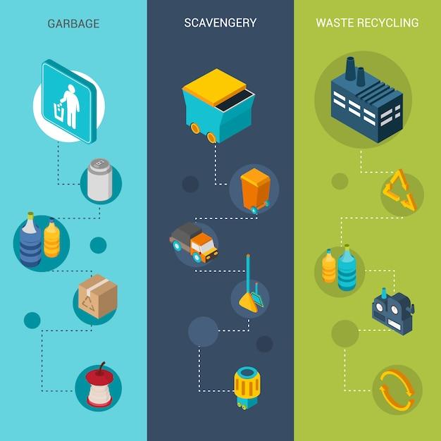 Müll isometrische banner Kostenlosen Vektoren