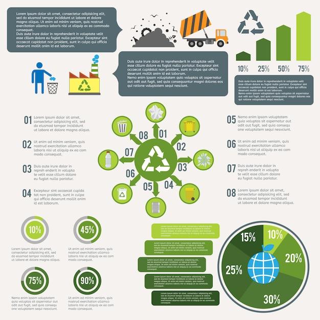Müll recycling infographik Premium Vektoren