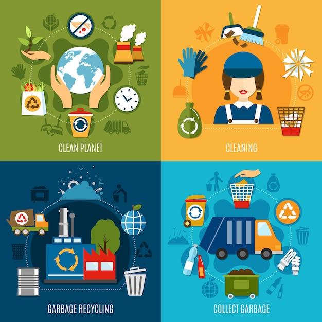 Müll sammeln konzept Kostenlosen Vektoren