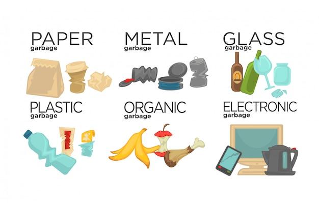 Müll sortieren lebensmittelabfälle, glas, metall und papier Premium Vektoren