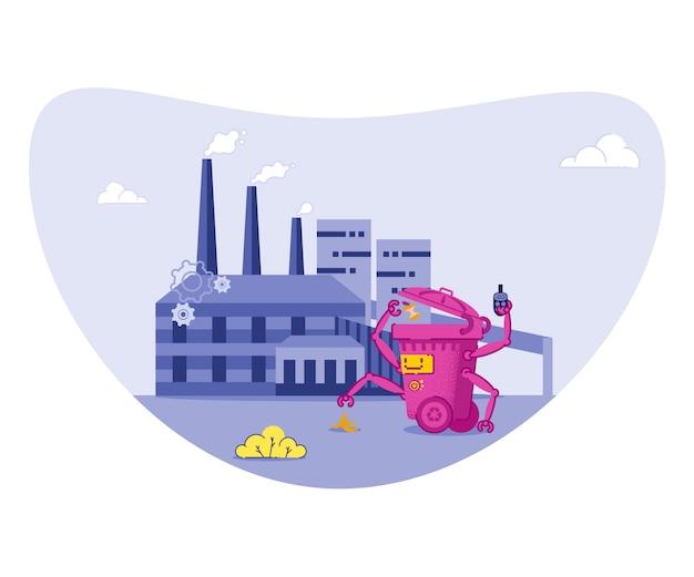 Müll sortieren, recyceln, um die umwelt zu schützen. Premium Vektoren