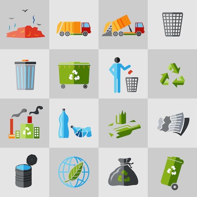 Müll symbole flach Premium Vektoren