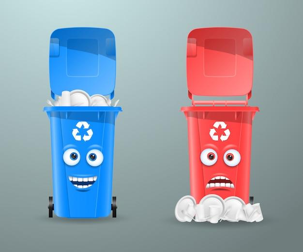 Mülleimer in form von lustigen figuren. Premium Vektoren