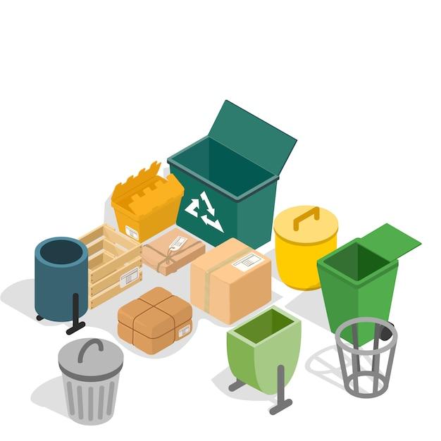 Mülleimer-konzeptszene Premium Vektoren