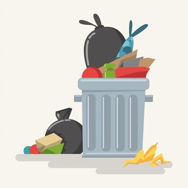 Mülleimer mit abfall und plastiktaschenkarikatur Premium Vektoren