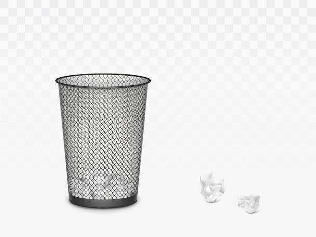 Mülleimer mit zerknittertem papier innen und außen. büro, hausmüllbehälter für geworfene blätter, papierkorbisolat. 3d realistische vektorabbildung, klippkunst Kostenlosen Vektoren