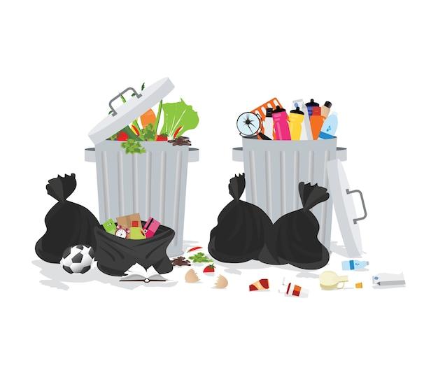 Mülleimer voller überlaufendem müll Premium Vektoren