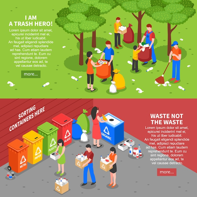 Müllsortier-banner eingestellt Kostenlosen Vektoren