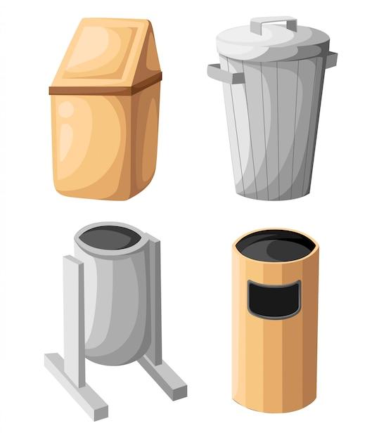 Mülltonne symbol isoliert. illustration. flacher papierkorb. abfallbehälter. müllcontainer. müllkorb. müllkorb. aufräumen. reinigungssymbol. behältervektor. müll Premium Vektoren