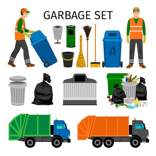 Müllwagen, abfalleimer und kehrmaschine, bunter abfall, der die ikonen eingestellt auf weiß sammelt Premium Vektoren