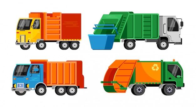 Müllwagen-vektor-müllfahrzeug Premium Vektoren