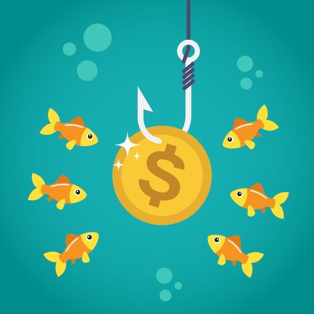 Münze-dollar am angelhaken Premium Vektoren