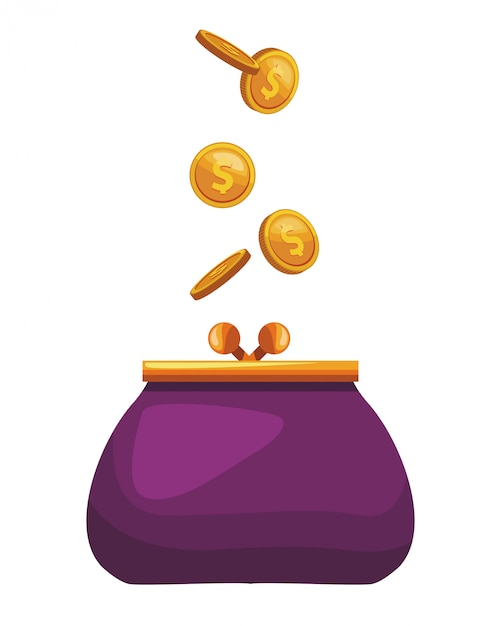 Münze geldbeutel-symbol Premium Vektoren