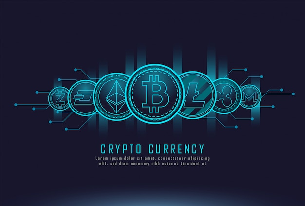Münzen der kryptowährung Premium Vektoren