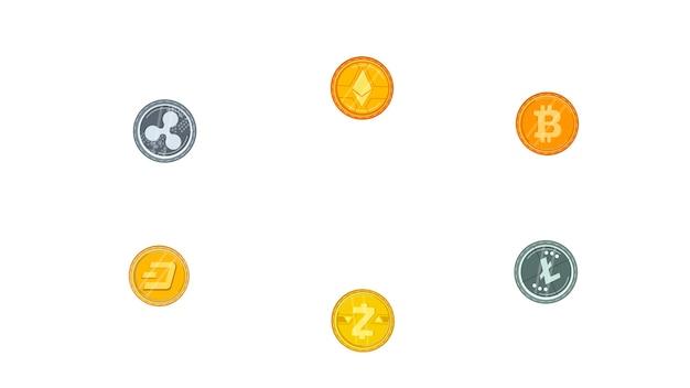 Münzen isolierten vektor-illustration Premium Vektoren