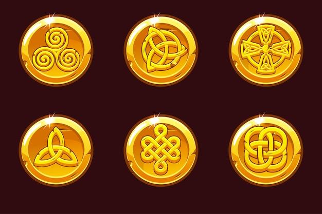 Münzen mit keltischen symbolen. keltische ikonen des karikatursatzes. Premium Vektoren