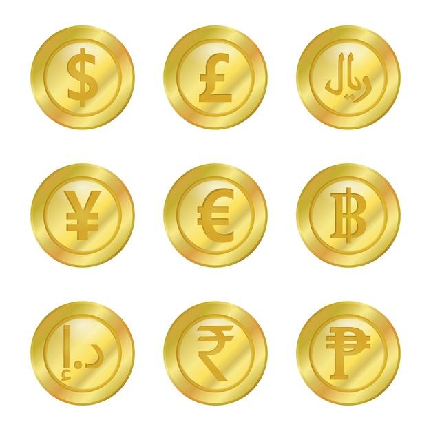 Münzgeld Premium Vektoren