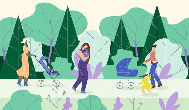 Mütter gehen mit kindern in park Premium Vektoren