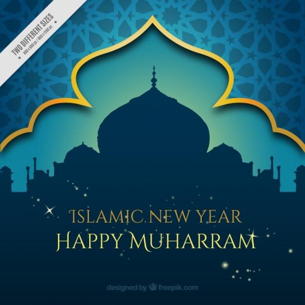 Muharram dekorativen Hintergrund mit Moschee Kostenlose Vektoren